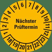"""Prüfplakette """"Nächster Prüftermin"""", 18-23, Ø 25mm, 105 / Heft"""