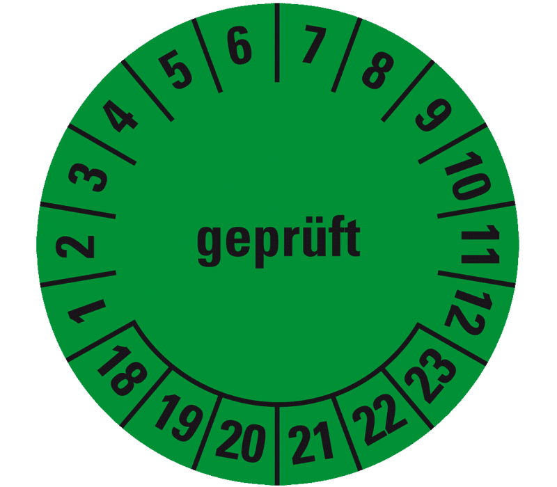 Prüfplakette, grün (18-23)