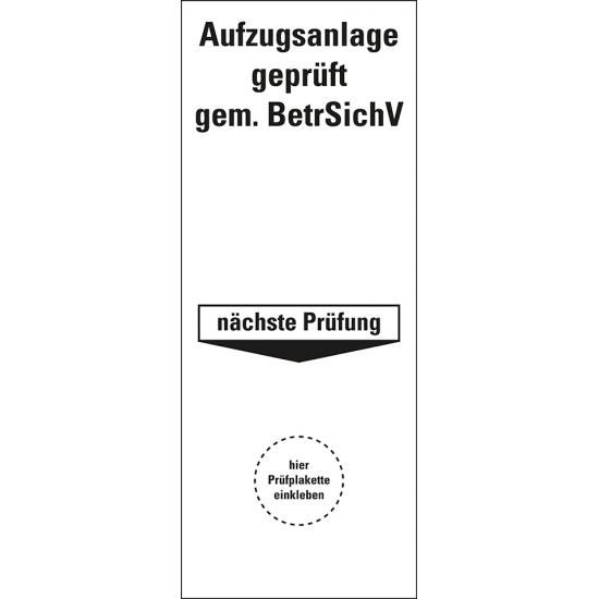 Aufzugsanlage geprüft - Grundplakette  (5er Bogen)