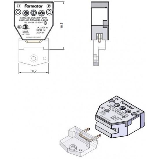Fermator door contact 40 mm for various models