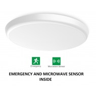 Round ceiling light with emergency light and presence sensor 300mm (neutral white)