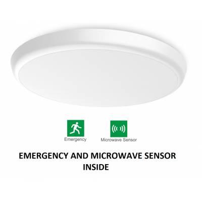 Runde Kabinenbeleuchtung mit Notlicht und Bewegungsmelder (Neutralweiß)