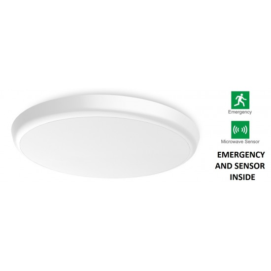 Round ceiling light with emergency light and presence sensor (neutral white)