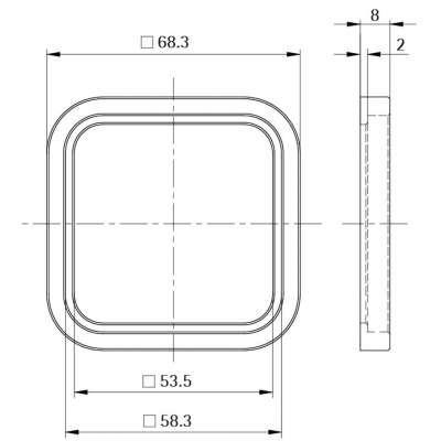 Rosette Style 50 quadratisch (Kunststoff)