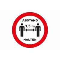 "Aufkleber ""1,5 m Abstand halten"" (5er Pack)"
