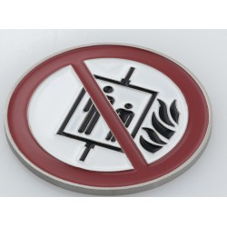 """Pictogram: """"Do not use the elevator in case of fire!"""" (white)"""